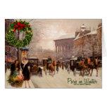 Vintage Christmas Paris | Winter Greeting Greeting Card