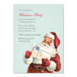 Vintage Christmas Party Jolly Santa Blue Holiday 11 Cm X 16 Cm Invitation Card