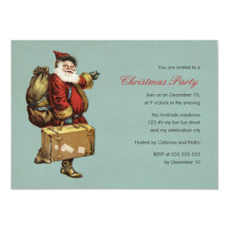 Vintage Christmas Party Santa Claus Green Holiday 11 Cm X 16 Cm Invitation Card