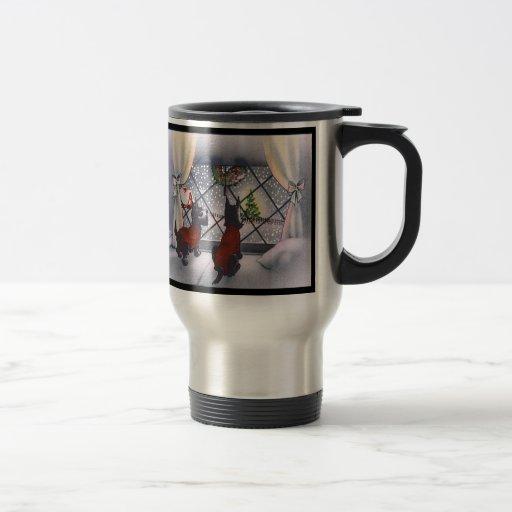 Vintage Christmas Patriotic Scottie Dogs Coffee Mug