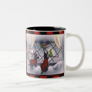Vintage Christmas Patriotic Scottie Dogs on Checks Two-Tone Mug