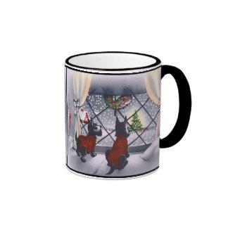 Vintage Christmas Patriotic Scottie Dogs Ringer Mug