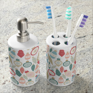 Vintage Christmas pattern bath decor Soap Dispenser And Toothbrush Holder