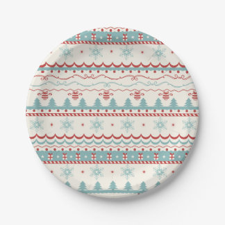Vintage Christmas pattern 7 Inch Paper Plate