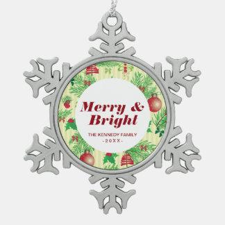Vintage Christmas Pattern Snowflake Pewter Christmas Ornament