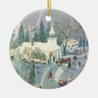 Vintage Christmas, People Going to Church in Snow Christmas Ornament