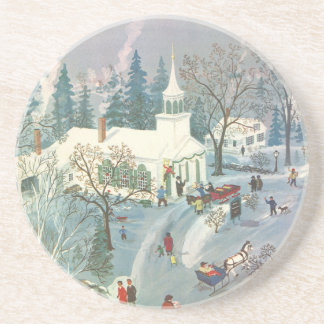 Vintage Christmas, People Going to Church in Snow Coaster