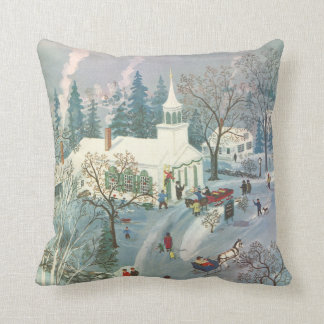 Vintage Christmas, People Going to Church in Snow Cushion