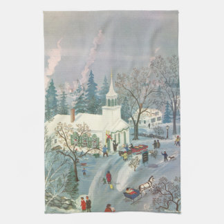 Vintage Christmas, People Going to Church in Snow Tea Towel