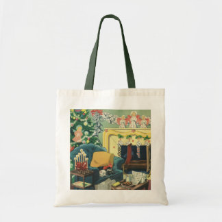 Vintage Christmas Pets in the Living Room Budget Tote Bag