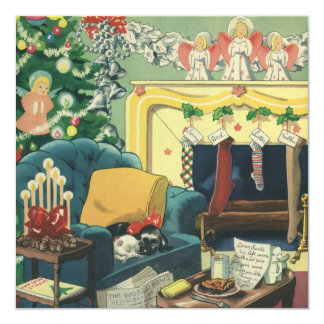 Vintage Christmas Pets in the Living Room 5.25x5.25 Square Paper Invitation Card