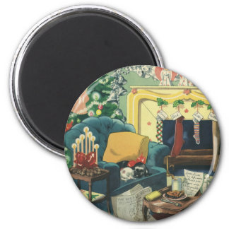 Vintage Christmas Pets in the Living Room 6 Cm Round Magnet