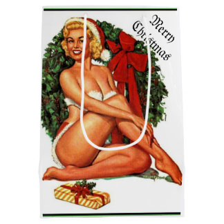 Vintage Christmas Pinup Girl Medium Gift Bag