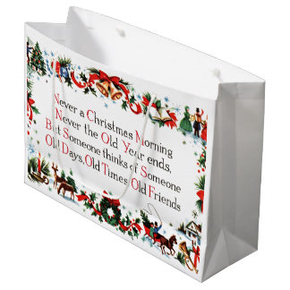 Vintage Christmas Poem Large Gift Bag