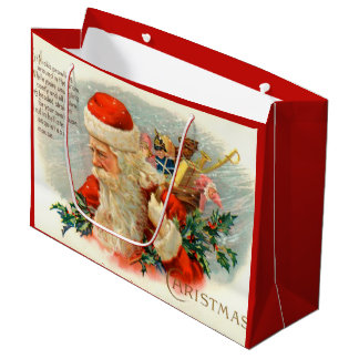 Vintage Christmas poem Santa party bag