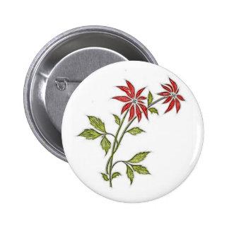 Vintage Christmas Poinsettia 6 Cm Round Badge