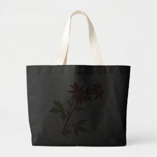 Vintage Christmas Poinsettia Black Tote Bag