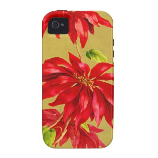Vintage Christmas Poinsettia Vibe iPhone 4 Covers