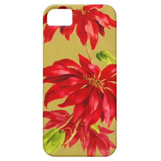 Vintage Christmas Poinsettia Case For iPhone 5/5S