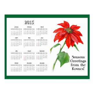 Vintage Christmas Poinsettia Flower Calendar Postcard