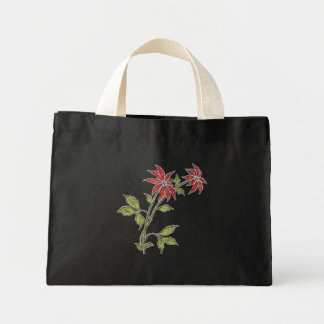 Vintage Christmas Poinsettia Holiday Small Black Canvas Bag