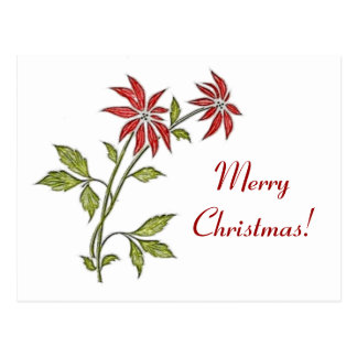Vintage Christmas Poinsettia Merry Christmas Postcards