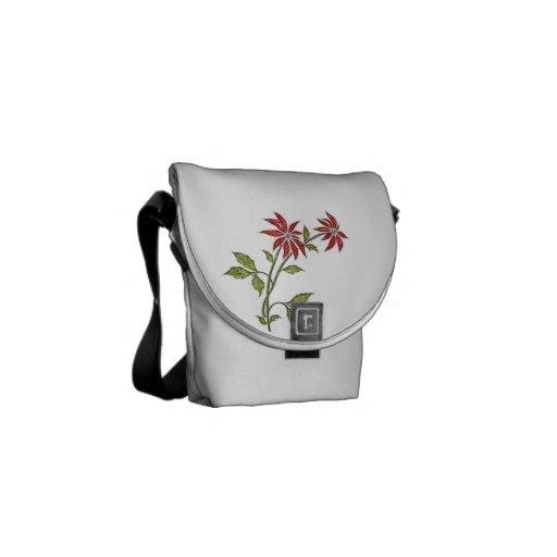 Vintage Christmas Poinsettia Messenger Bags
