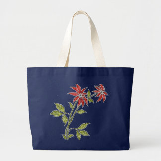 Vintage Christmas Poinsettia Navy Blue Tote Bags