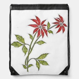 Vintage Christmas Poinsettia Drawstring Backpacks