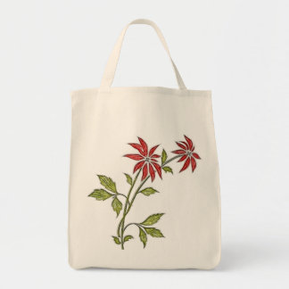 Vintage Christmas Poinsettia Reusable Canvas Bag