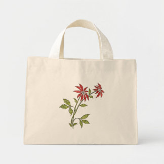 Vintage Christmas Poinsettia Small Holiday Bags