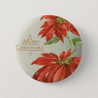 Vintage Christmas Poinsettias 6 Cm Round Badge