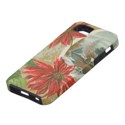 Vintage Christmas Poinsettias and Cabin iPhone 5/5S Case