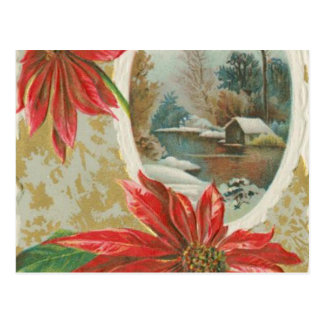 Vintage Christmas Poinsettias and Cabin Postcards