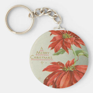 Vintage Christmas Poinsettias Key Ring