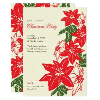 Vintage Christmas Poinsettias Party Invitation