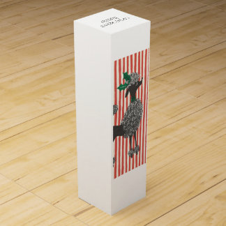 Vintage Christmas Poodle Wine Gift Box