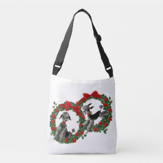 Vintage Christmas Poodles in Poinsettia Wreaths Crossbody Bag