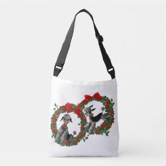 Vintage Christmas Poodles in Poinsettia Wreaths Tote Bag