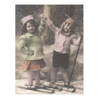 Vintage Christmas postcard-children on skis Postcard