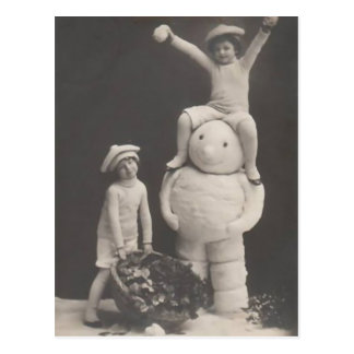 Vintage Christmas postcard-children with snowman Postcard