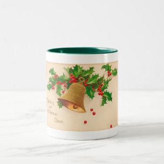 """Vintage Christmas Postcard """"CHRISTMAS CHEER"""" Two-Tone Coffee Mug"""