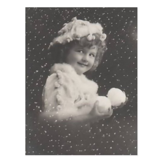 Vintage Christmas postcard-girl with snowballs Postcard