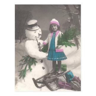 Vintage Christmas postcard-girl with snowman Postcard