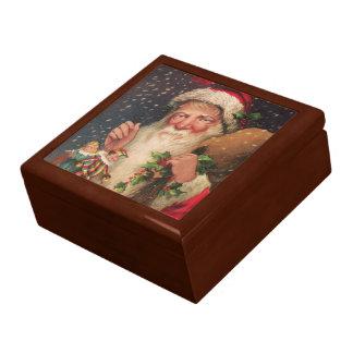 Vintage Christmas Postcard Image (Reproduction) Large Square Gift Box
