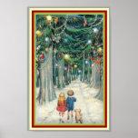Vintage Christmas Poster 8 x 12