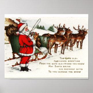Vintage Christmas Poster -- Santa and Reindeer