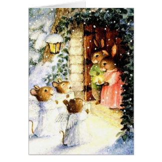 Vintage Christmas Rabbits Card