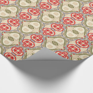 Vintage Christmas Red Green Gold Arabesque Wrapping Paper
