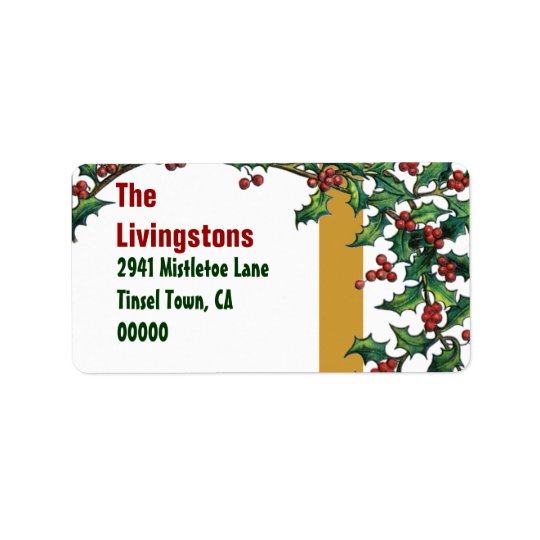 Vintage Christmas Red Green Gold Holly Family G400 Address Label
